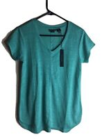 NWT Tahari Shirt V Neck 100% Linen T-Shirt / Green / Sz Small