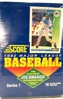Score 1992 Major League Baseball Cards Series 1 Wax Packs New Factory Sealed