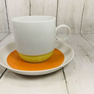 Rosenthal Studio Linie Germany Cup Saucer Orange Green Ambrogio Pozzi  7 Ounce