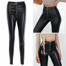 Fashion Women Crocodile Pattern High Waist Leather Pants Tight Trousers Clubwear