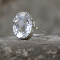 Oval Faceted White Topaz Gemstone 925 Sterling Silver Artisan Gift Ring Jewelry