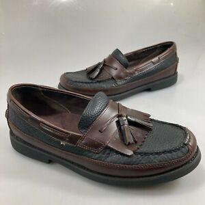 Sperry Topsider Mens 10 M Tremont Brown Black Kiltie Tassel Loafers Non-Marking