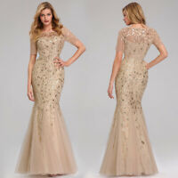 Ever-pretty Gold Long Mermaid Evening Dresses Sequins Celebrity Prom Gowns 7707