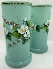 Pair Of Blue Opaline Glass Bohemian Vases. Hand Painted. Late 19th/ Early 20th C