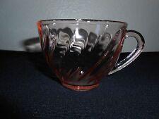 Arcoroc France Glassware Rosaline Pink Swirl Tea Coffee Cup Glass FREE SHIPPING!