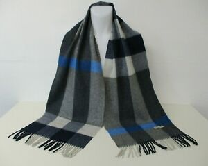 """BURBERRY SCARF SHAWL, 100% Wool, Grey, Blue, White Check, Long & Wide, 75"""" x 14"""""""