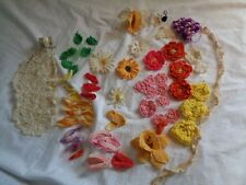(2772) CAN U FINISH THIS PROJECT? Crochet flowers ready 2 B made into something
