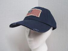 New Distressed American Flag Ball Cap - Dorfman Pacific - Navy - OSFM Adjustable