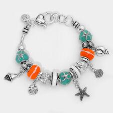 Starfish Bracelet Sliding Beads Sand Dollar Sea Shell Charms SILVER TURQ Jewelry