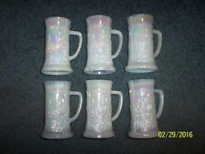 "Vintage Set of 6 White Federal Glasses 5-3/4"" Steins/Mugs/Tankards Tavern Scene"
