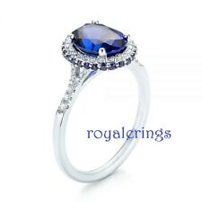 Diamond Engagement Wedding Ring 925 Silver 3.00ct Oval Cut Blue Sapphire & White