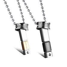 2 Edelstahl Anhänger Partner Ketten Freundschaft Halskette Steel Silber Love 955