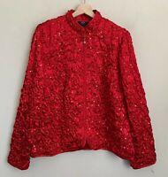 MSK Women Red Jacket Sequin Pucker Zip Front Polyester Size 1X