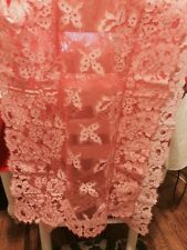 Vintage Lace Wrap/Scarf With Pink W Cross Dye