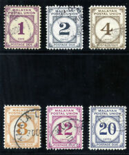 Malaya Postal Union 1966 QEII Postage Due set complete VF used. SG D22-D28.