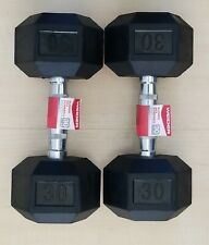 Set of 30 lb Weider DRH30 Rubber Hex Dumbbells with Knurled Grip (60 lbs total)
