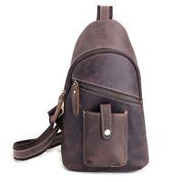 Retro Men's Genuine Leather Sling Chest Bag Backpack Casual Hiking Shoulder Bag