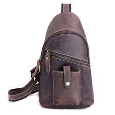 Vintage Crazy Horse Leather Sling Chest Mens Backpack Waist Messenger Bike Bag