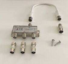 3-fach TV & Radio Verteiler Weiche Dreifachverteiler, inkl. 20cm Kabel, DVB-T-2