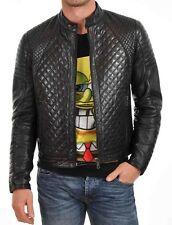 New Men's Quilted Motorcycle Black Genuine Lambskin Leather Biker Jacket