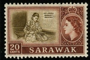 SARAWAK SG196 1957 20c OLIVE & BROWN MNH