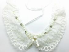 White Lace Peter Pan Collar - Floral Guipure Vintage Necklace Ribbon Applique