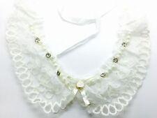 White Lace Peter Pan Collar - Floral Guipure Vintage Necklace Ribbon Applique