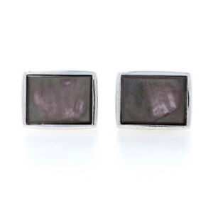 Sterling Silver Black Mother of Pearl Men's Cufflinks - 925 Rectangles