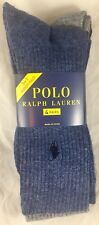 Polo Ralph Lauren Socks 4 Pk Men 10-13 Tall Casual Pony Logo Gray Navy RN 55365
