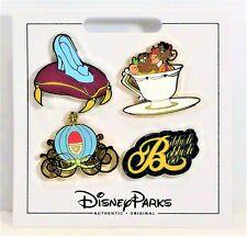 Disney 2017 Cinderella Jac & Gus Slipper & Coach 4 Pin Mini Booster Set NEW CUTE