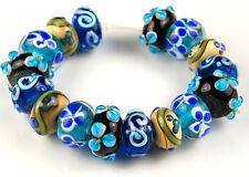 16 Lampwork Glass Beads Handmade Craft Black Aqua Blue Flower Rondelle 8x12mm