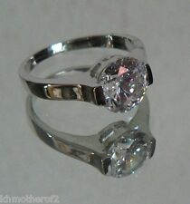 Size 9 Ring Silver Colored SOLITAIRE Setting Austrian Crystal SPARKLE comfort #8