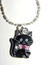 Small Black Kitten Pink Bow and Bling charm Pendant 18 Inch Chain necklace