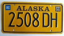 Alaska License Plate 1998, Plate # 2508 DH Excellent Condition