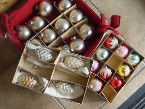 Alter Weihnachtsschmuck Glas Zapfen Kugeln bunt beschneit Baumbehang Konvolut 1
