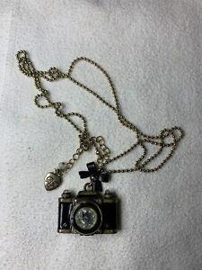 Betsey Johnson Gold Tone Black Camera Necklace - Used