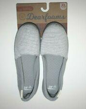 New Dearfoams Women's Espadrille Slippers Gray Microfiber Insole M 7-8, XL 11-12