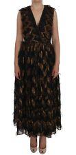 NEW $4000 DOLCE & GABBANA Dress Black Silk Brown Fringes A-Line IT46 / US12 / XL