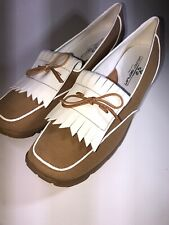 walter genuin womens golf shoes brown and white size 9.5