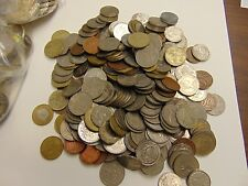 FOREIGN COINS AND TOKENS LOT WHEAT PENNIES STEEL CENT AND FREE CHALLENGE COIN
