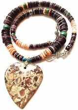 NATURAL PURPLE SPINY OYSTER SHELL TURQUOISE NECKLACE W/RARE AGATE HEART PENDANT