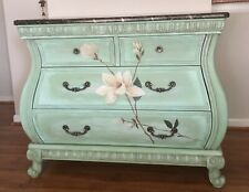 Hand Painted Magnolias Green Bombay Chest