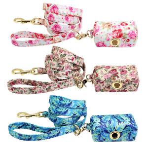 Fancy Floral Nylon Dog Leash Lead & Poop Bag Dispenser Holder Pet Waste Pick Up