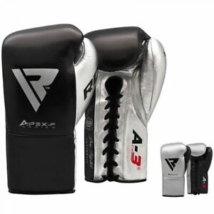 RDX A3 Fight Lace Up Leather Boxing Gloves BBBofC / BIBA / WBF / NYAC Approved.