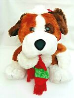 Brown White Bark Sing Christmas Song Puppy Dog Red Santa Hat Scarf Plush Toy