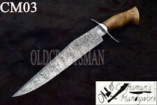 "17"" Custom Handmade Damascus Steel Hunting Bowie  Knife - Olive Wood Handle CM03"