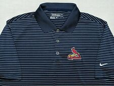 Nike Golf Tour Performance St. Louis Cardinals MLB Polo Shirt Blue Striped Small