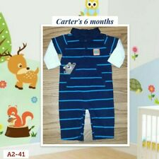 "Carter's baby Boy 6 Month Blue Striped Pants Outfit/Jumpsuit ""Mommy's Hugger"""