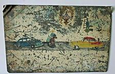 Vintage Tin Retablo Prayer Handmade & Hand Painted Mexican Folk Art Horse Cars