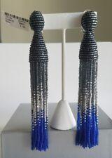 OSCAR DE LA RENTA Authentic Long Ombre Beaded Tassel Clip On Earrings NEW $450